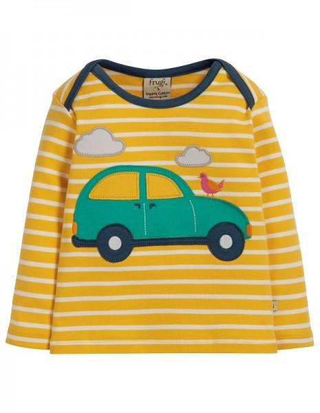 Frugi Langarm Shirt Bumble Bee Auto gelb-weiß