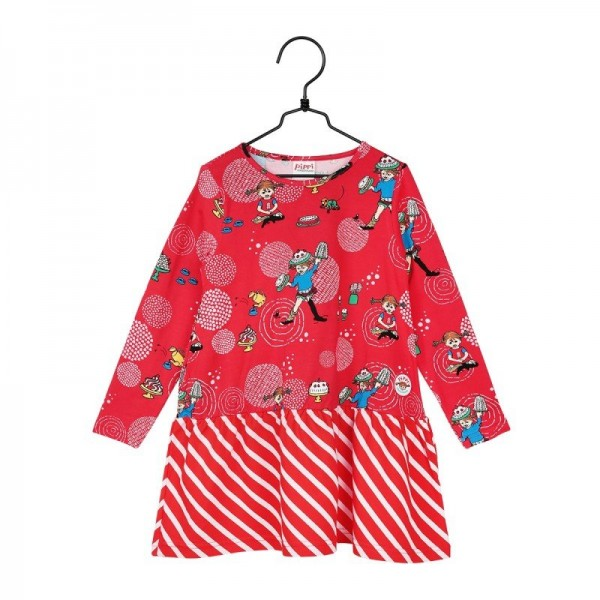 Martinex Pippi Langarm Kleid Party rot