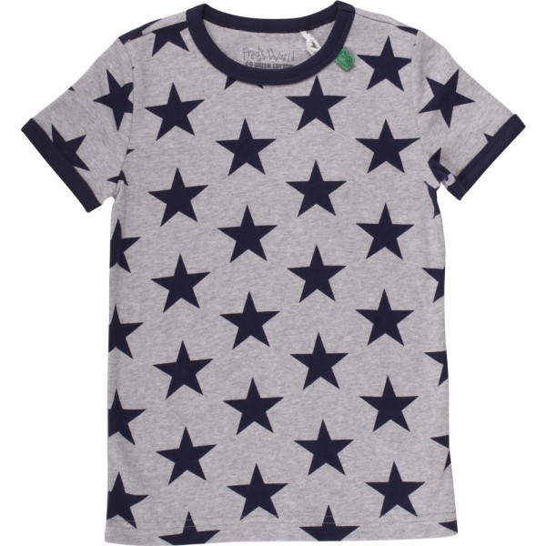 Fred's World Kurzarm Shirt Star Sterne grau