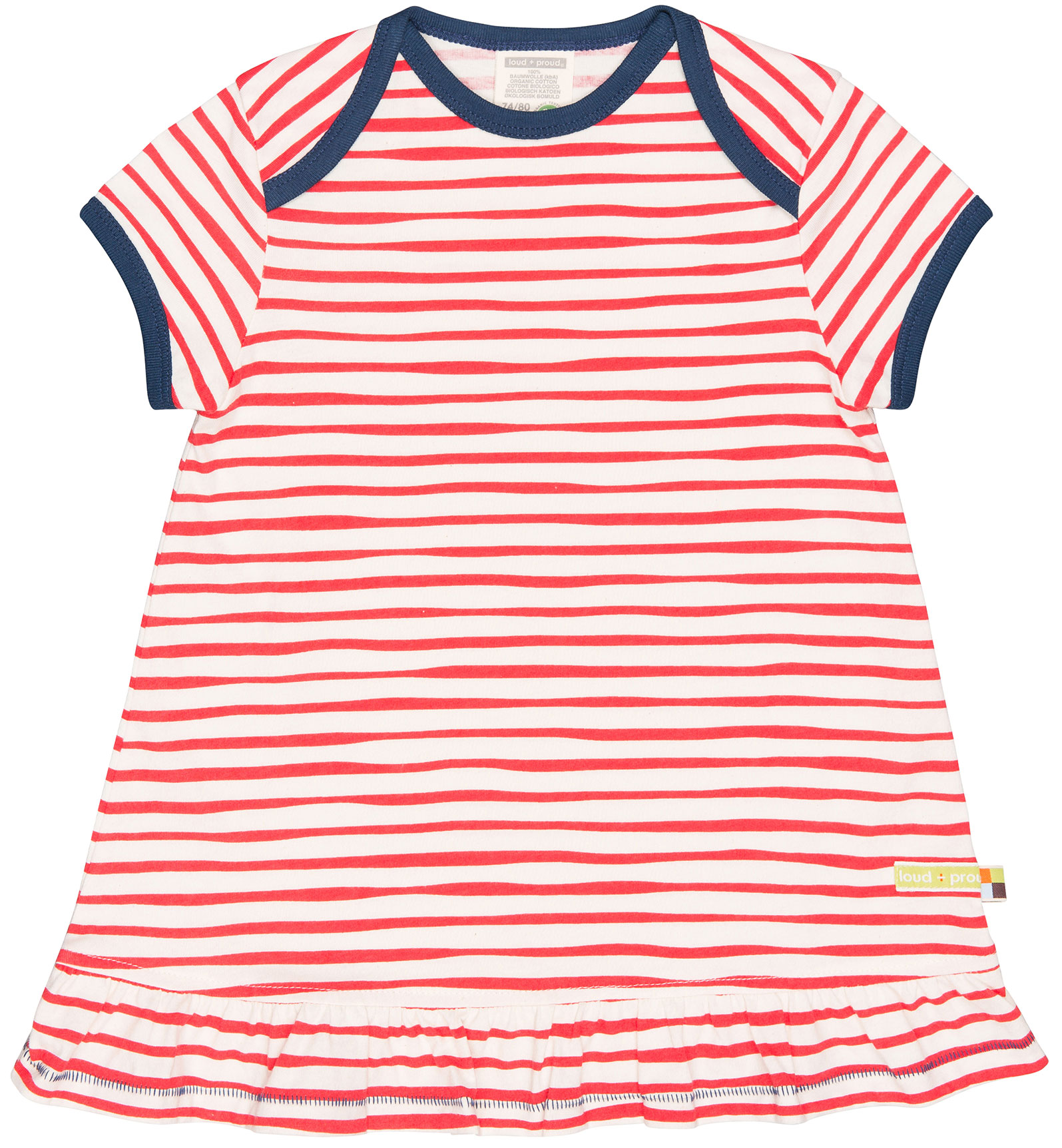 Loud+Proud Kurzarm Kleid weiß-rot gestreift | Kurzarm ...