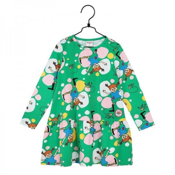 Martinex Pippi Cartwheel Langarm Kleid grün